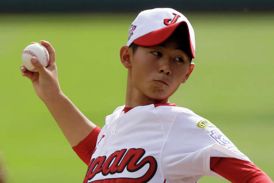 Tokyo, Japan, pitcher Kazuki Ishida delivers against Chula Vista, Calif., in the first inning of the Little League World Series Championship baseball game in South Williamsport, Pa., Sunday, Aug. 25, 2013. (AP Photo/Gene J. Puskar) / AP