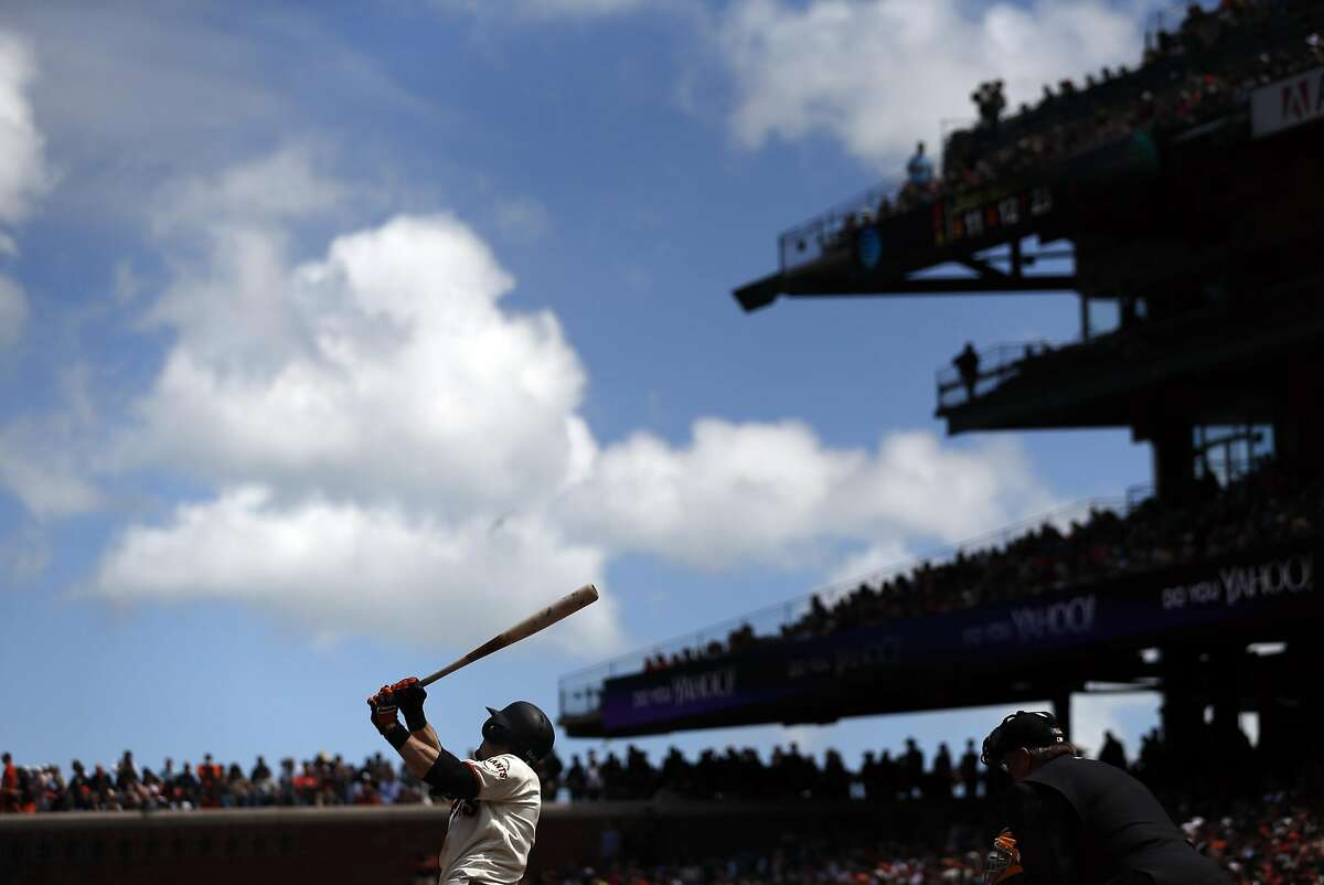 San Francisco Giants' Matt Duffy bats in 6th inning against Milwaukee Brewers during MLB game at AT&T Park in San Francisco, Calif., on Wednesday, June 15, 2016.