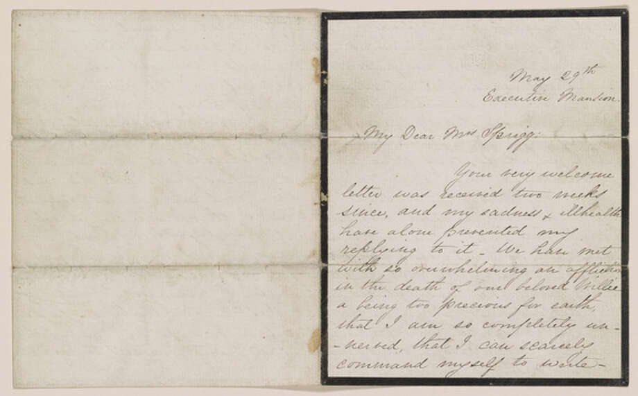 This undated handout image provided by the Library of Congress shows a letter written by Mary Todd Lincoln to Julia Ann Sprigg, May 29, 1862, which is part of an exhibit at the Library of Congress of letters and diaries saved for 150 years from those who lived through the Civil War that offer a new glimpse at the arguments that split the nation. The Library of Congress holds the largest collection of Civil War documents. It has pulled 200 items from its holdings for a new exhibit to reveal both private and public thoughts from dozens of famous and ordinary citizens who lived in the North and the South. (AP Photo/Library of Congress) / Library of Congress