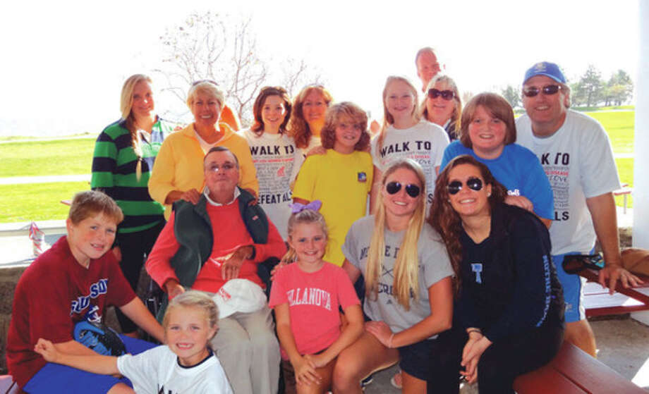 """The Mulhearn and Riordan gang, AKA """"The Fighting Irish"""" participate in the ALS Walk held Oct. 20 at Sherwood Island State Park."""