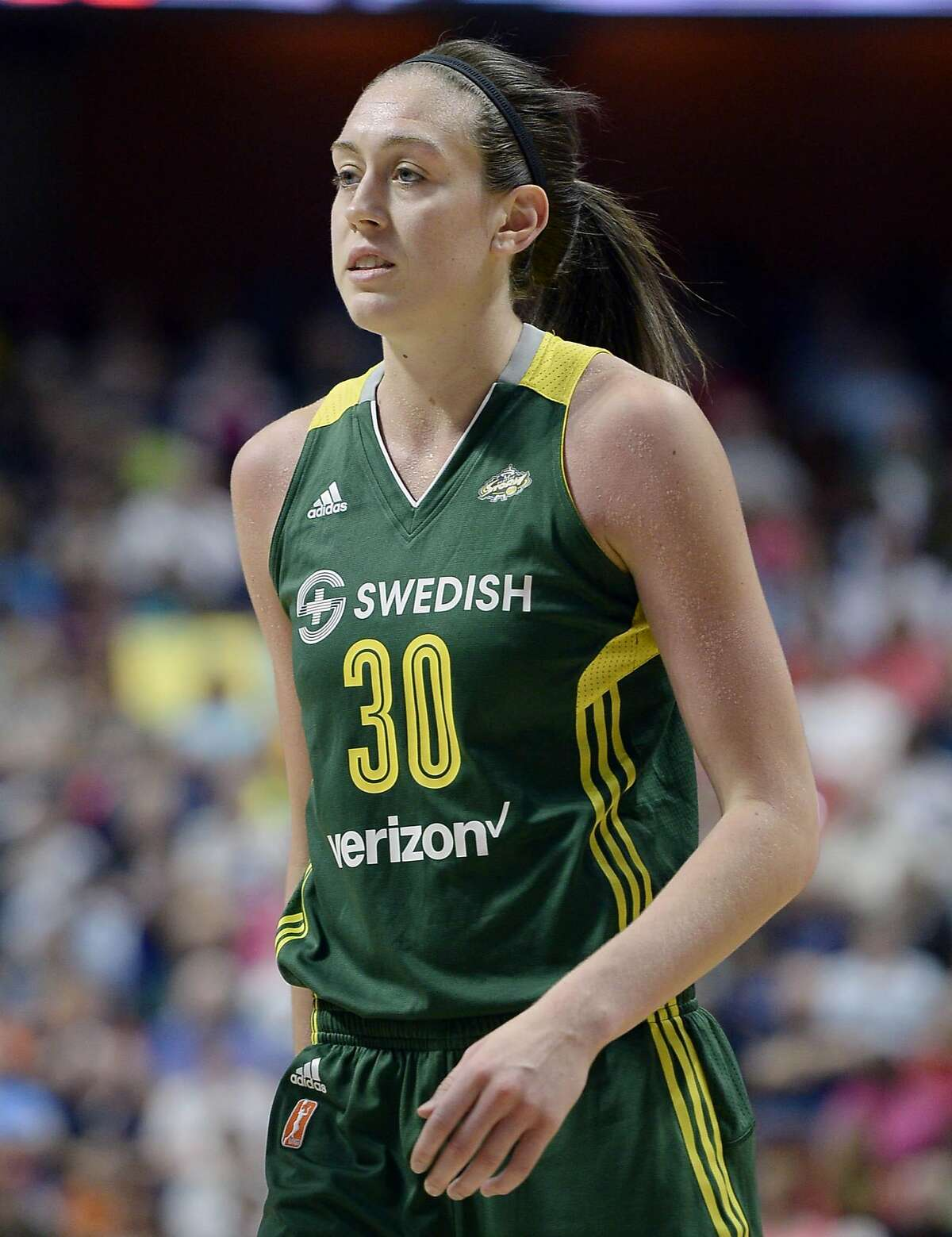 Seattle Storm�s Breanna Stewart during a WNBA basketball game against the Connecticut Sun, Friday, June 10, 2016, in Uncasville, Conn. (AP Photo/Jessica Hill)