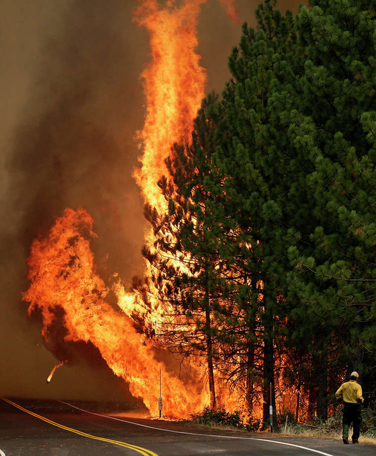 The Rim Fire burns along Highway 120 near Yosemite National Park, Calif., on Sunday, Aug. 25, 2013. With winds gusting and flames jumping from treetop to treetop, hundreds of firefighters have been deployed to protect communities in the path of the Rim Fire raging north of Yosemite National Park. (AP Photo/Jae C. Hong) / AP