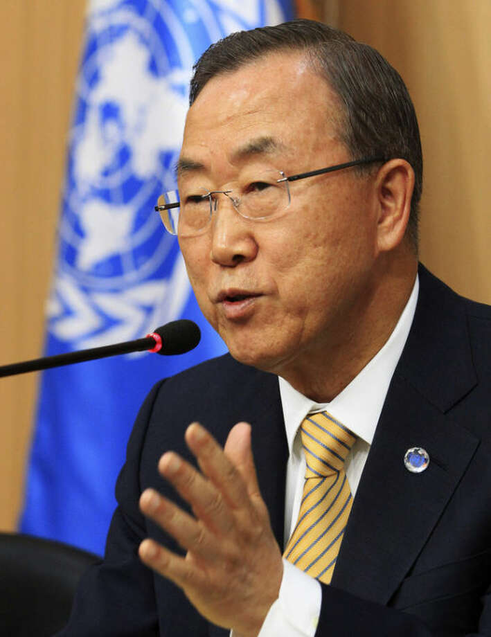 U.N. Secretary-General Ban Ki-moon speaks during a press conference at Foreign Ministry in Seoul, South Korea, Monday, Aug. 26, 2013. Ban is on a six-day visit home in South Korea since last Tuesday. (AP Photo/Ahn Young-joon)