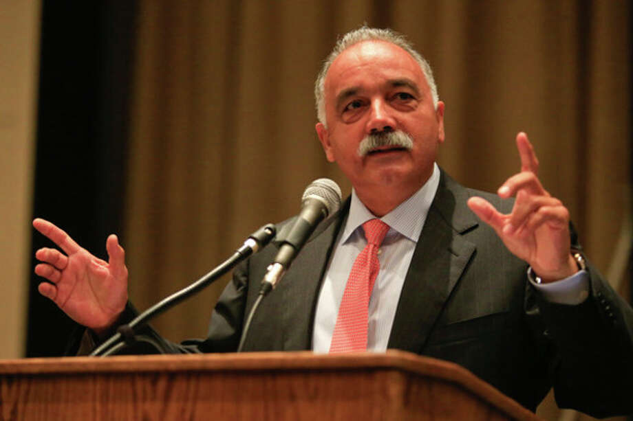 Norwalk Public Schools Superintendent Manuel J. Rivera speaks during the teachers convocation Monday monrning at Brien McMahon. Hour Photo / Chris Palermo / © 2013 Hour Newspapers All Rights Reserved