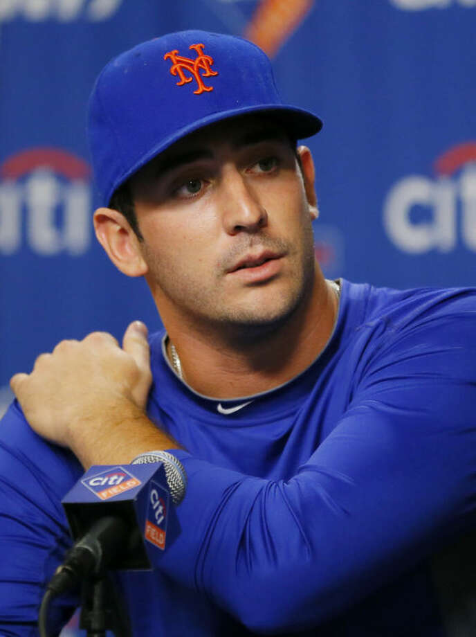 New York Mets pitcher Matt Harvey speaks during a news conference announcing that he has been diagnosed with a partially torn ligament prior to a baseball game between the Mets and Philadelphia Phillies at Citi Field, Monday, Aug. 26, 2013, in New York. (AP Photo/Paul J. Bereswill)