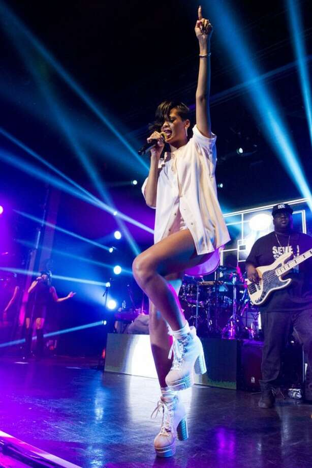 Rihanna performs on Tuesday, Nov. 20, 2012 in New York. (Photo by Charles Sykes/Invision/AP)