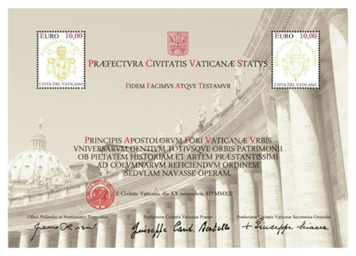 An undated picture made available by the Vatican's Philatelic and Numismatic Office, Tuesday, Nov. 27, 2012, showing a 20 Euro stamp and certificate. Not even the Vatican is immune from the economic crisis. For the first time, the Vatican is seeking funds directly from pilgrims, collectors and tourists to pay for the ambitious restoration of the 17th century Bernini colonnade surrounding St. Peter's Square, offering a special 20 Euro stamp and certificate for the cause. (AP Photo/Vatican Philatelic and Numismatic Office, HO)