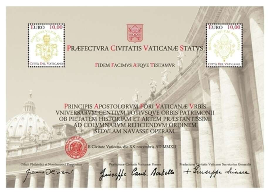 An undated picture made available by the Vatican's Philatelic and Numismatic Office, Tuesday, Nov. 27, 2012, showing a 20 Euro stamp and certificate. Not even the Vatican is immune from the economic crisis. For the first time, the Vatican is seeking funds directly from pilgrims, collectors and tourists to pay for the ambitious restoration of the 17th century Bernini colonnade surrounding St. Peter's Square, offering a special 20 Euro stamp and certificate for the cause. (AP Photo/Vatican Philatelic and Numismatic Office, HO) / Vatican Philatelic and Numismatic Office