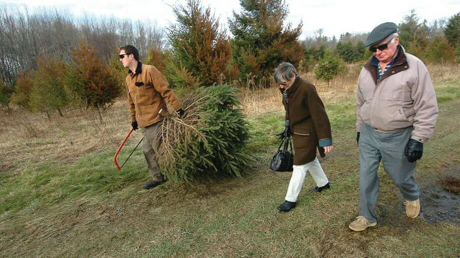 Hour Photo/Alex von Kleydorff. Davina and Gus Porter walk with Daniel Ford after he cut them a tree for their deck to go with the big one they bought for the living room at the CT Audubon Society Christmas tree farm in Westport.