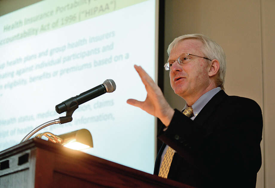 "Cohen & Wolf attorney Gary Phelan discusses HIPAA during the CBP and Cohen & Wolf program, ""Healthcare Reform, Wellness and Law: Are You Prepared?"" Thursday at The Stamford Yacht Club. Hour photo / Erik Trautmann / (C)2012, The Hour Newspapers, all rights reserved"