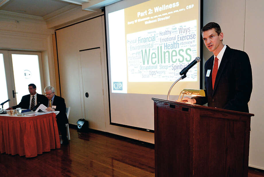 """CBP CEO Chris Peck intoduces their program """"Healthcare Reform, Wellness and Law:Are You Prepared?"""" in conjunction with Cohen & Wolf Thursday at The Stamford Yacht Club. Hour photo / Erik Trautmann / (C)2012, The Hour Newspapers, all rights reserved"""