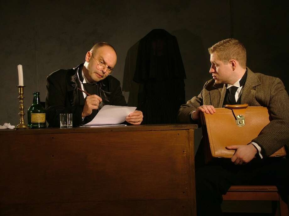 "Geoffrey Gilbert at Arthur Kipps and Michael Butler as The Actor in Westport Community Theatre's current production of ""The Woman In Black,"" continuing performances this weekend Thursday, November 30 at 8:00 PM, Friday and Saturday December 1 and 2 at 8:00 PM and Sunday December 3 at 2:00 PM, with a final weekend Friday and Saturday December 7 and 8 at 8:00 PM and Sunday December 9 at 2:00 PM."