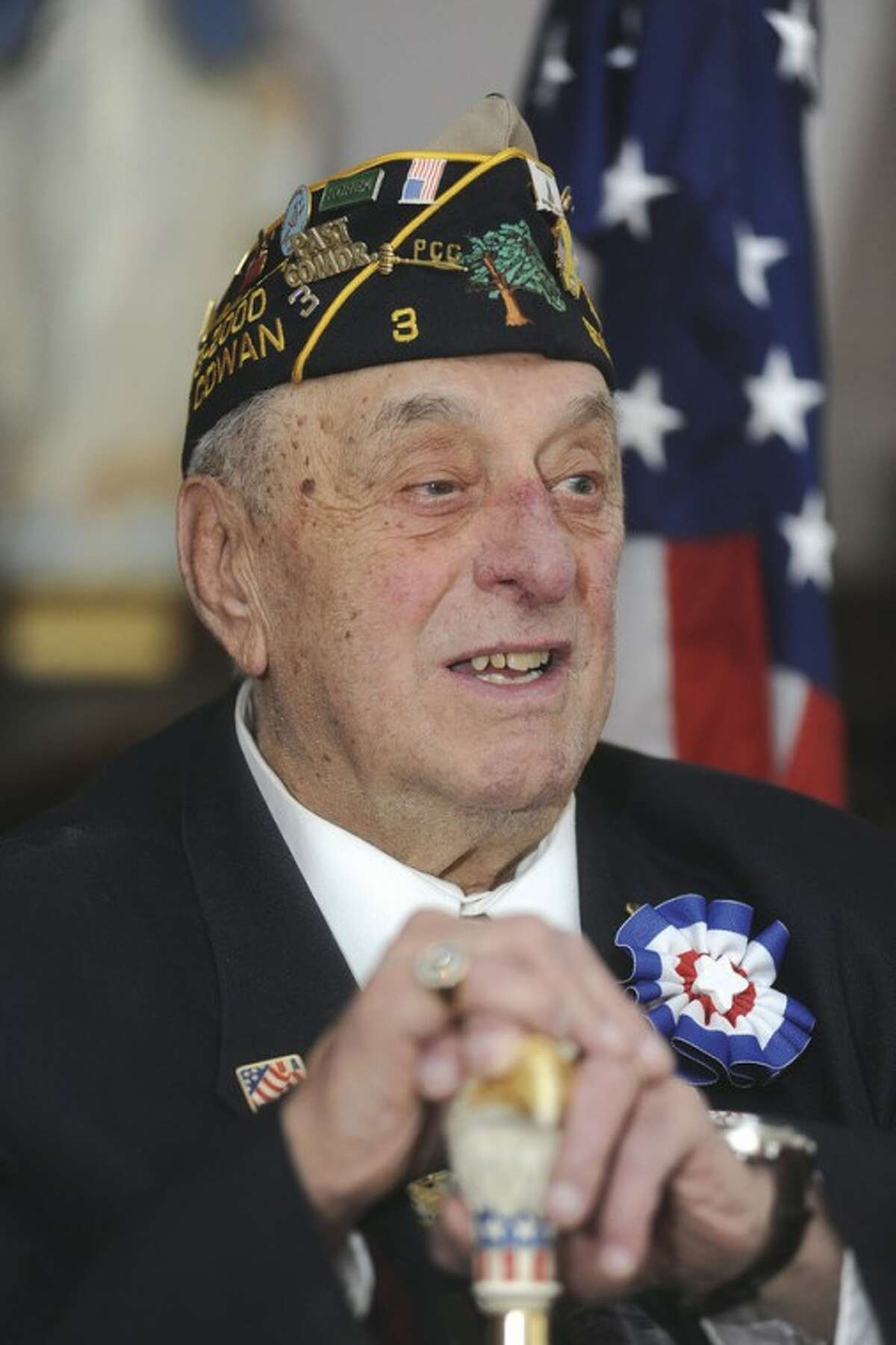 Hour photo / Matthew Vinci Stamford resident Carmine Vaccaro at Smith House Monday in Stamford. He was inducted into the Connecticut Veterans Hall of Fame on Wednesday.