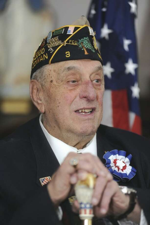 Hour photo / Matthew VinciStamford resident Carmine Vaccaro at Smith House Monday in Stamford. He was inducted into the Connecticut Veterans Hall of Fame on Wednesday.