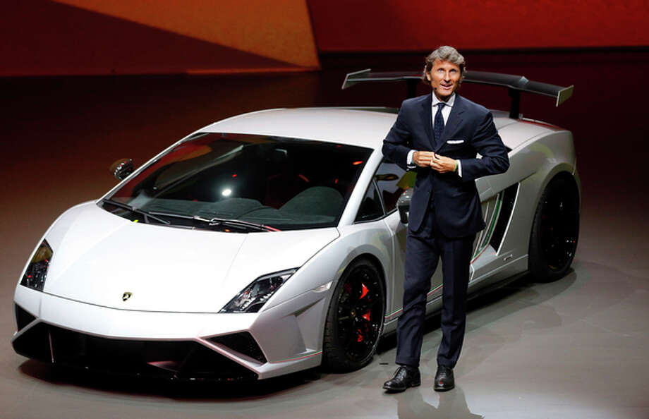 Stephan Winkelmann, CEO of Lamborghini, introduces the new Squadra Course during a preview by the Volkswagen Group prior to the 65th Frankfurt Auto Show in Frankfurt, Germany, Monday, Sept. 9, 2013. More than 1,000 exhibitors will show their products to the public from Sept. 12 through Sept. 22, 2013. (AP Photo/Frank Augstein) / AP
