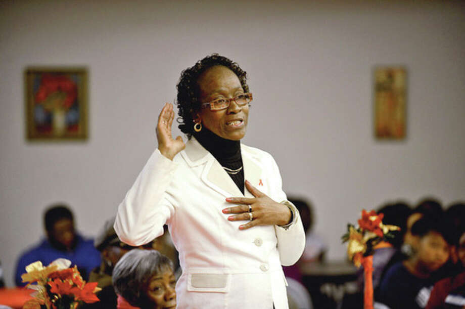 """Hour photo / Erik TrautmannJanice Murray speaks during World AIDS Day program, """"I am my Brothers/Sisters Keeper"""" sponsored by nonprofits Saturday at Grace Baptist Church. / (C)2012, The Hour Newspapers, all rights reserved"""
