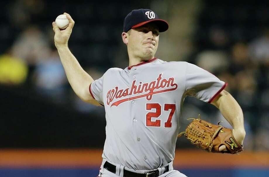 Washington Nationals' Jordan Zimmermann delivers a pitch during the first inning of a baseball game against the New York Mets on Tuesday, Sept. 10, 2013, in New York. (AP Photo/Frank Franklin II) / AP