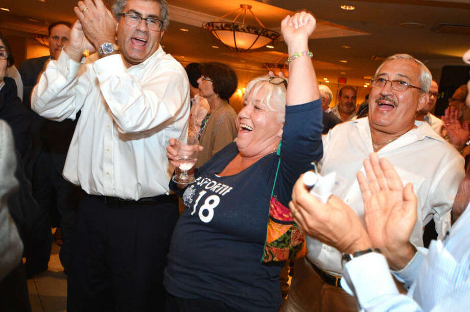 Hour Photo/Alex von Kleydorff . Supporters celebrate David Martins win in the Stamford Democratic primary.