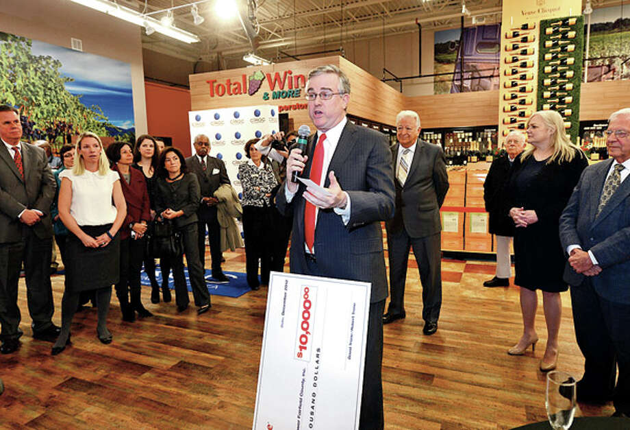 Owner David Trone speaks at the grand opening of Total Wine and More on Main Ave in Norwalk Thursday afternoon. / ©2012 The Hour Newspapers