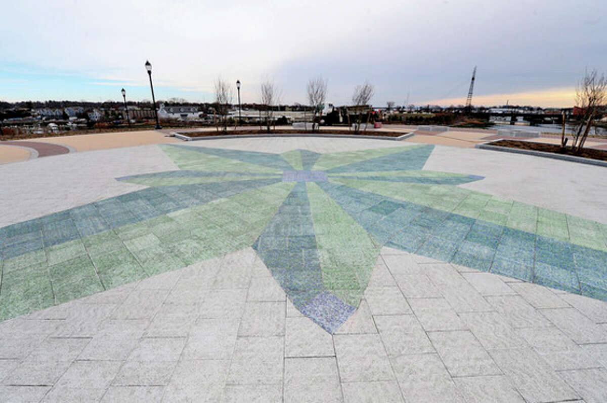 Phase One improvements to Oyster Shell Park near completion Thursday. The project added drainage, hardscape, landscaping and lighting to the hillside park adjacent to the Norwalk River and Interstate 95. Hour photo / Erik Trautmann