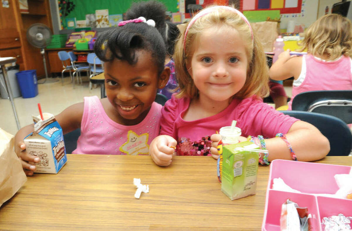 First day of school for Nikeia Worsley and Emily Fitzpatrick Monday at Springdale School in Stamford.
