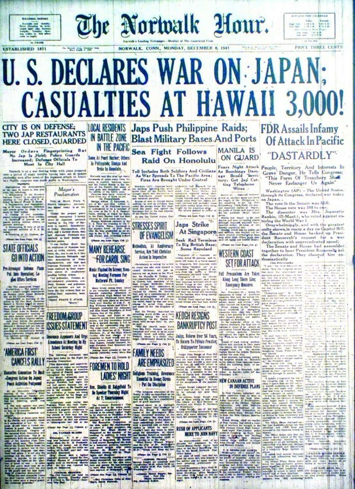 Front page of The Hour, 1941.