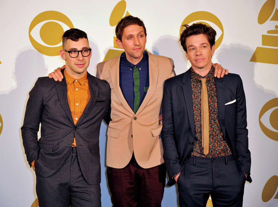 The band Fun, from left, Jack Antonoff, Andrew Dost and Nate Ruess pose for a photo backstage at the Grammy Nominations Concert Live! at Bridgestone Arena on Wednesday, Dec. 5, 2012, in Nashville, Tenn. (Photo by Donn Jones/Invision/AP) / Invision
