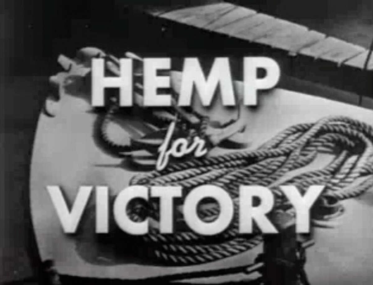 """FILE- This file image made from a film produced by the U.S. Department of Agriculture during World War II shows the title frame of the movie """"Hemp for Victory."""" After Japanese troops cut off access to Asian fiber supplies during the war, it released the propaganda film urging farmers to grow hemp and extolling its use in parachutes and rope for the war effort. On the occasion of ?""""Legalization Day,?"""" Thursday, Dec. 6, 2012, when Washington?'s new law takes effect, AP takes a look back at the cultural and legal status of the ?""""evil weed?"""" in American history. (AP Photo/U.S. Department of Agriculture, File)"""