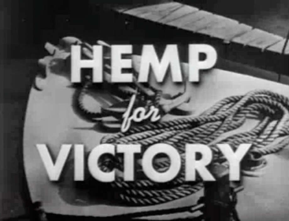 "FILE- This file image made from a film produced by the U.S. Department of Agriculture during World War II shows the title frame of the movie ""Hemp for Victory."" After Japanese troops cut off access to Asian fiber supplies during the war, it released the propaganda film urging farmers to grow hemp and extolling its use in parachutes and rope for the war effort. On the occasion of ""Legalization Day,"" Thursday, Dec. 6, 2012, when Washington's new law takes effect, AP takes a look back at the cultural and legal status of the ""evil weed"" in American history. (AP Photo/U.S. Department of Agriculture, File) / U.S. Department of Agriculture"