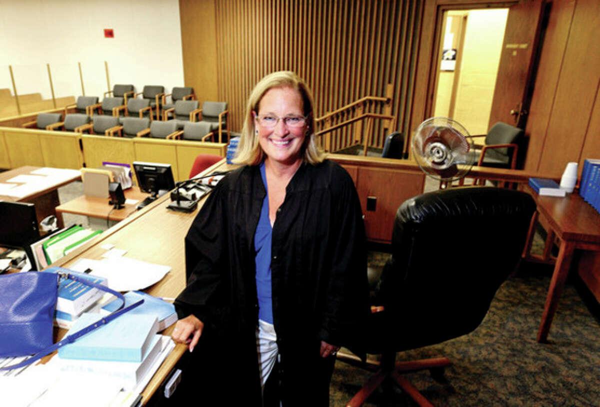 Norwalk Superior Court Judge Maureen Dennis serving her last day before being transferred to Bridgeport. Hour photo / Erik Trautmann