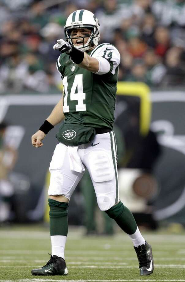 New York Jets quarterback Greg McElroy gestures during the second half of an NFL football game against the Arizona Cardinals, Sunday, Dec. 2, 2012, in East Rutherford, N.J. The Jets won 7-6. (AP Photo/Kathy Willens)