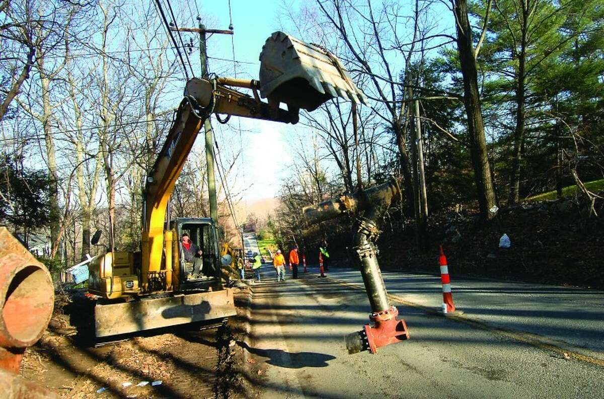 Work continues on Wolfpit Road in Wilton.