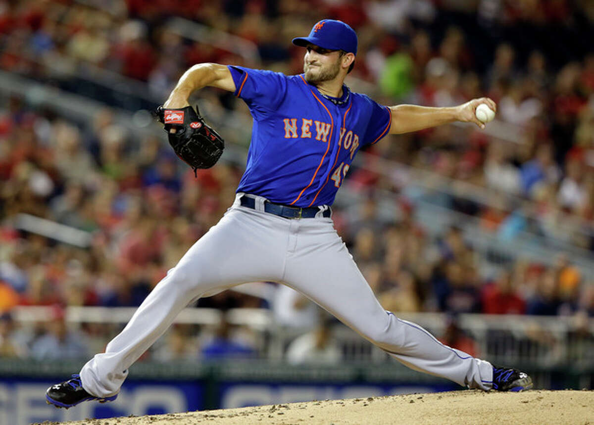 New York Mets starting pitcher Jonathon Niese (49) throws during the first inning of a baseball game against the Washington Nationals at Nationals Park Sunday, Sept. 1, 2013, in Washington. (AP Photo/Alex Brandon)