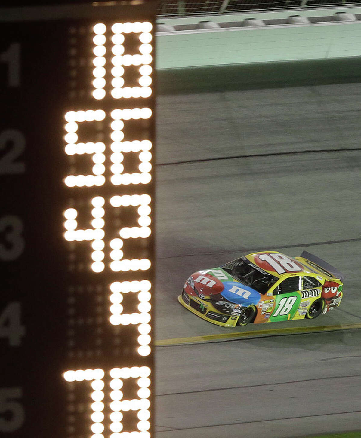 Sprint Cup Series driver Kyle Busch (18) drives through turn 4 during the NASCAR Sprint Cup Series auto race at Atlanta Motor Speedway in Hampton, Ga., Sunday, Sept. 1, 2013. Busch won the race. (AP Photo/John Bazemore)