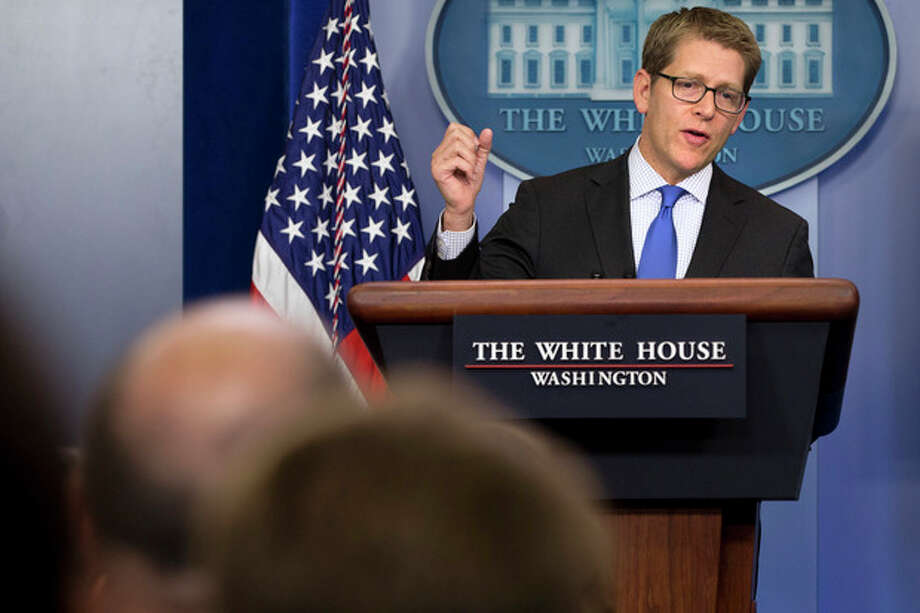 White House press secretary Jay Carney answers questions about Syria and chemical weapons during his daily news briefing at the White House in Washington, Tuesday, Aug. 27, 2013. The U.S. was expected to make public a more formal determination of chemical weapons use on Tuesday, however Carney stated that the president did not have a decision made about the response to announce at this time. (AP Photo/Jacquelyn Martin) / AP