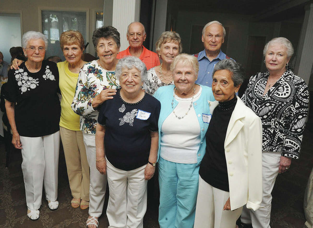 Hour photo / Matthew Vinci These 10 members of the Norwalk High School Class of 1948 planned the 65th anniversary reunion which drew almost three dozen classmates plus guests Sunday to the Shore & Country Club. First row, left to right, Rita Caliendro Smith, Bette Bourguignon Aitoro and Angie DeAngelis Spanoghe. Second Row, Frances Romanelli Crake, Beatrice Trani D'Orio, Barbara Raymond Marzolf, Robert Wagman, Ruth Irving Tanner, Attorney Kenneth Garfunkel and Geraldine Mead D'Amato.