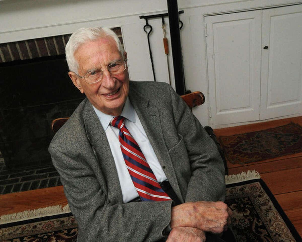 Allen Raymond at his home in Westport. Allen donated $500.000 to the Westport Y. hour photo/Matthew Vinci