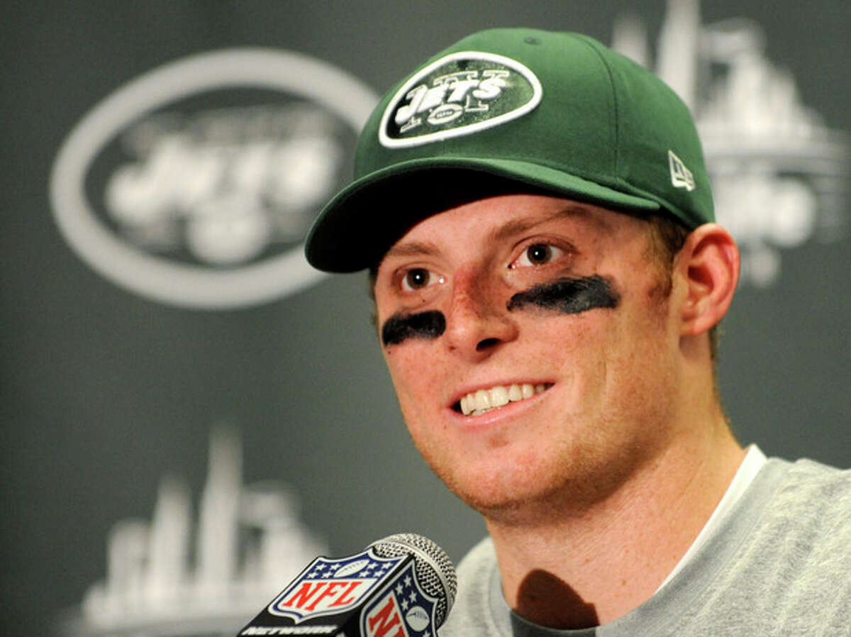 New York Jets quarterback Greg McElroy talks during a post-game news conference after of an NFL football game against the Arizona Cardinals, Sunday, Dec. 2, 2012, in East Rutherford, N.J. The Jets won 7-6. (AP Photo/Bill Kostroun)