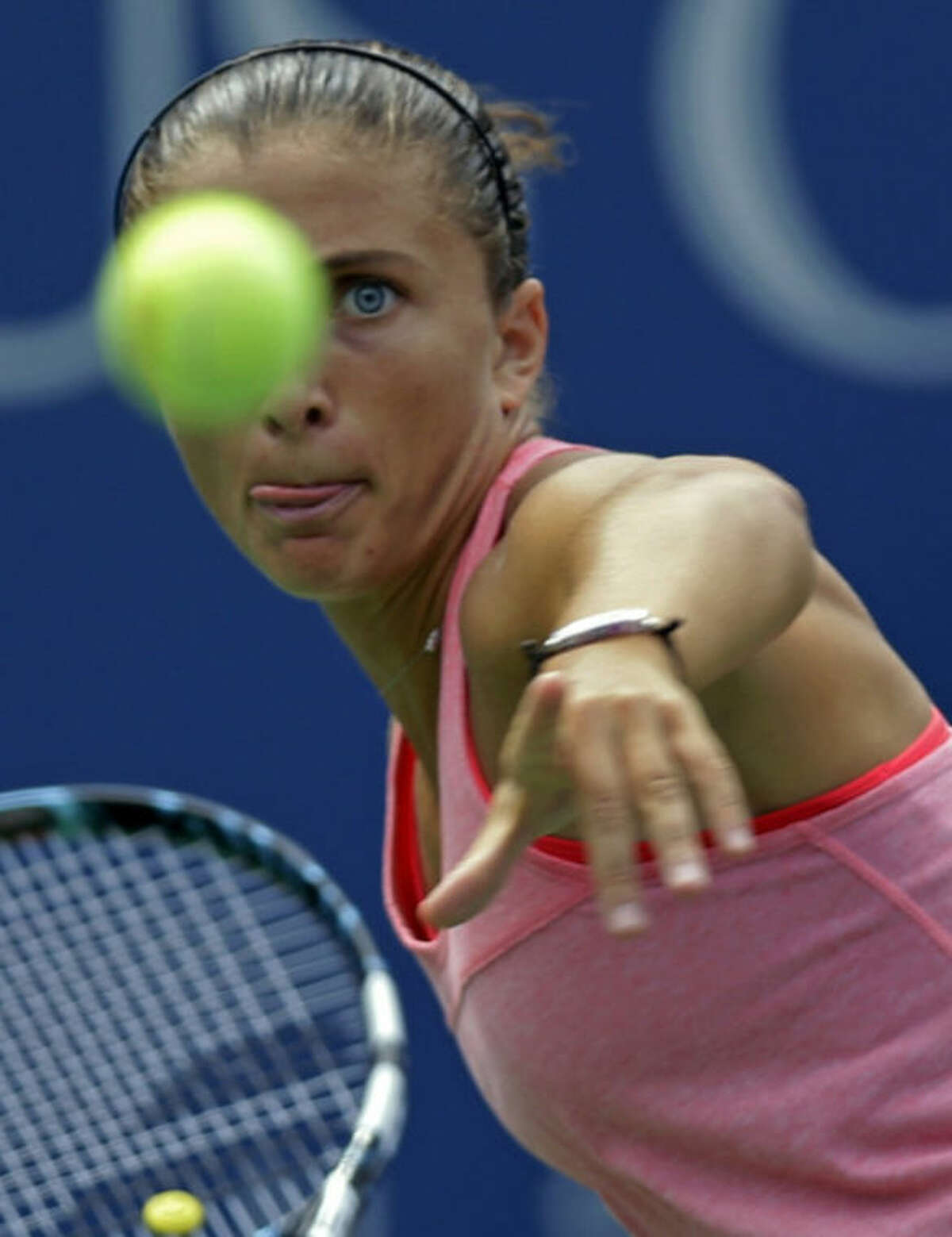 Sara Errani, of Italy, winds up to return a shot to Flavia Pennetta, of Italy, during the second round of the 2013 U.S. Open tennis tournament, Thursday, Aug. 29, 2013, in New York. (AP Photo/Kathy Willens)