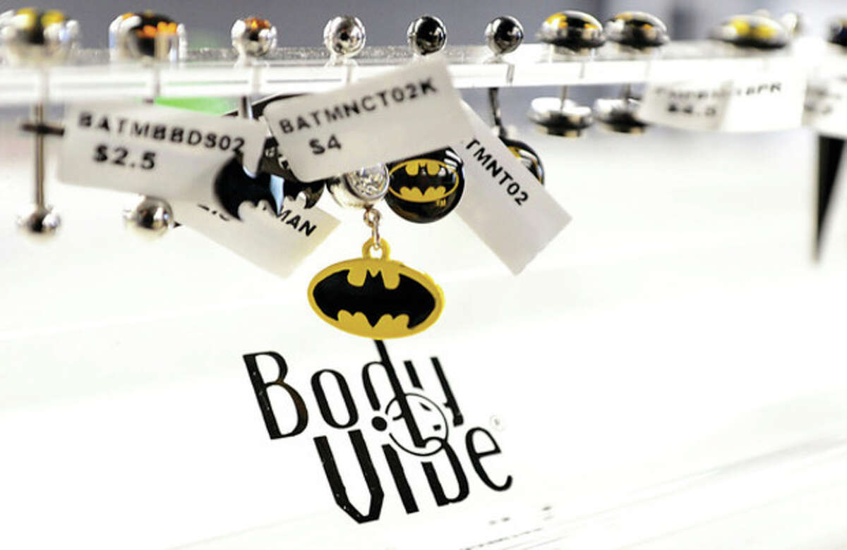 Sales One licensed Batman body jewelry. The body jewelry distributor, recently moved to 16 Fitch St. in Norwalk. Hour photo / Erik Trautmann