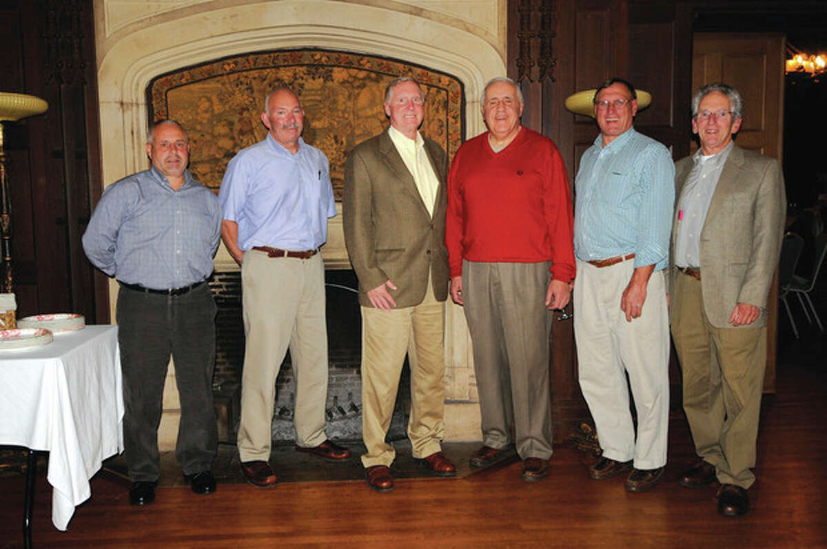 Contributed photo The Southern Connecticut Soccer Association recently observed its 50th anniversary. Among those on hand were, from left, Jamie Rodrigues, an officials for28 years; Gary Klar (23 years); SCSOA president Dick Nelson; Mike Hanna (34 years); Steve Benko (assigner), and Tom Kretsch, a 42-year member.