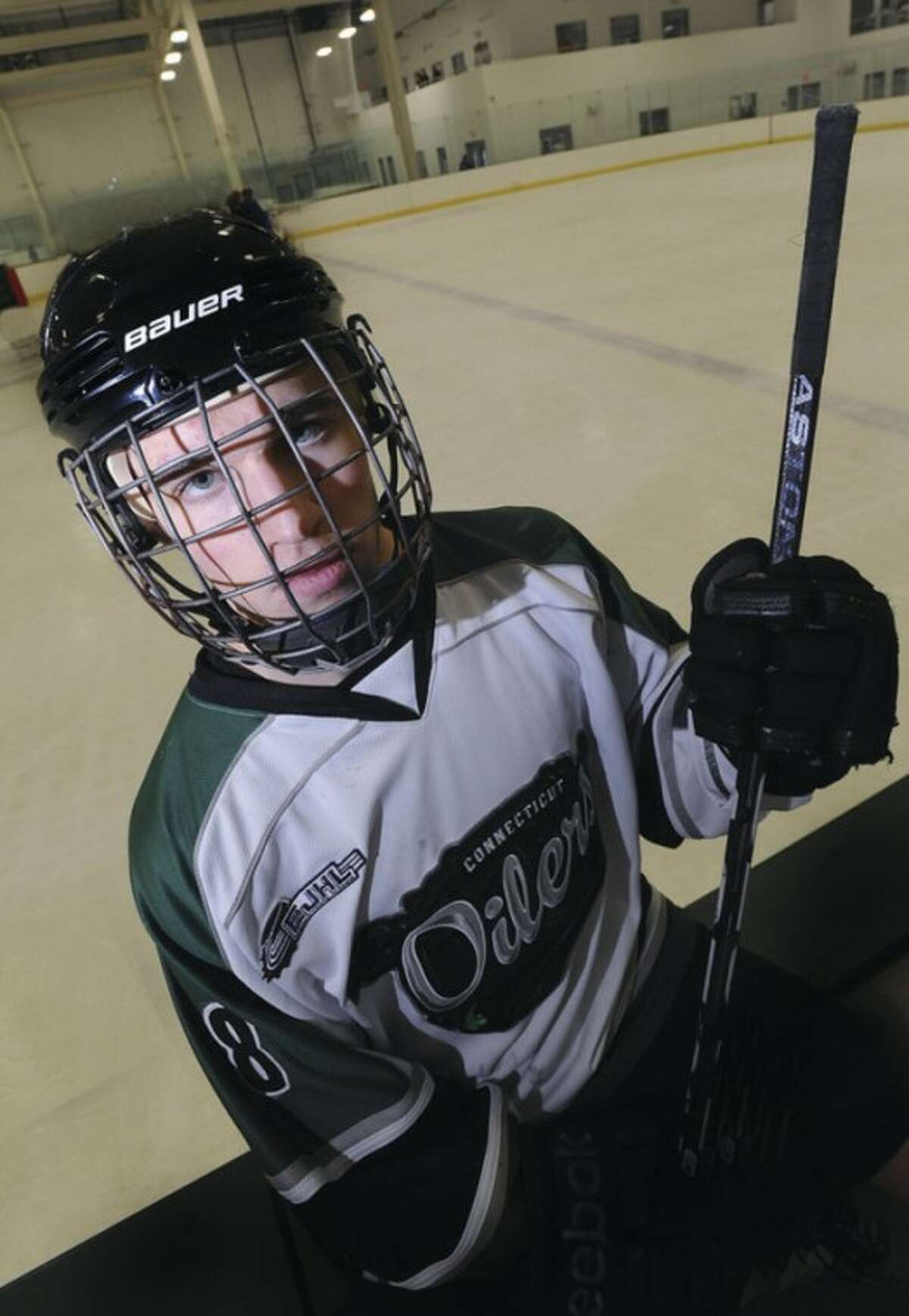 Hour photo/Matthew Vinci Roman Pfennings is the newest member of the Connecticut Oilers Eastern Junior Hockey League squad.