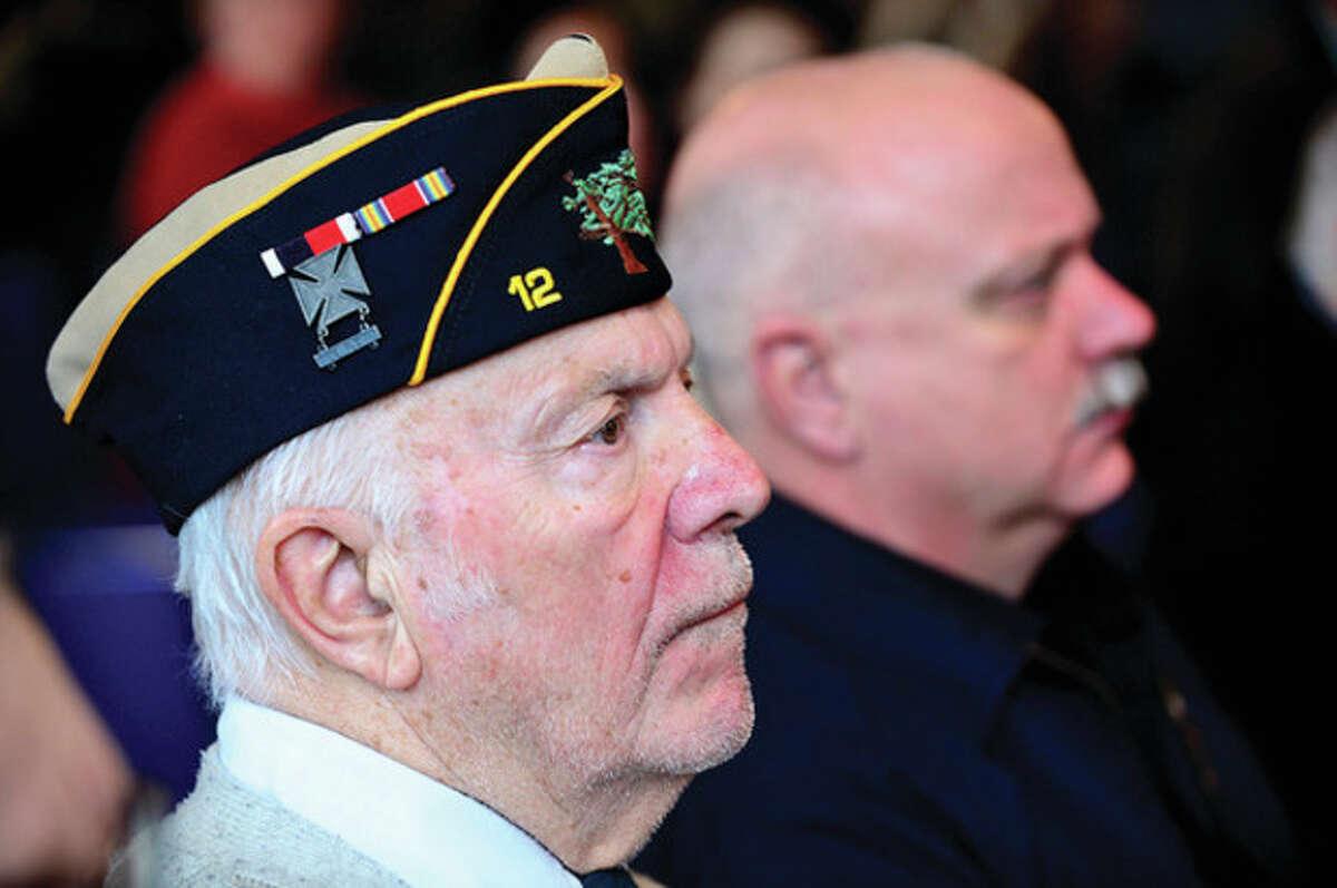 Veteran Robert Kramer and his son Bill attend the City of Norwalk Pearl Harbor Remebrance Day Friday at Norwalk City Hall. Hour photo / Erik Trautmann