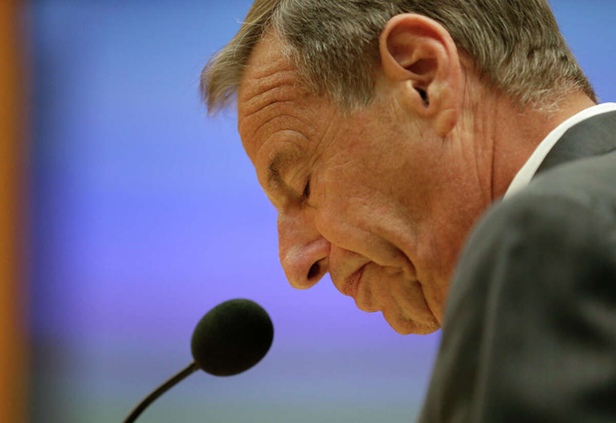 FILE - In this Friday, Aug. 23, 2013 file photo, San Diego Mayor Bob Filner speaks after agreeing to resign at a city council meeting in San Diego. On Friday, Aug. 30, 2013, Filner is leaving office in disgrace amid sexual harassment allegations and many unanswered questions, including how someone who acknowledged mistreating women for many years could have survived for so long in politics. (AP Photo/Gregory Bull, File)