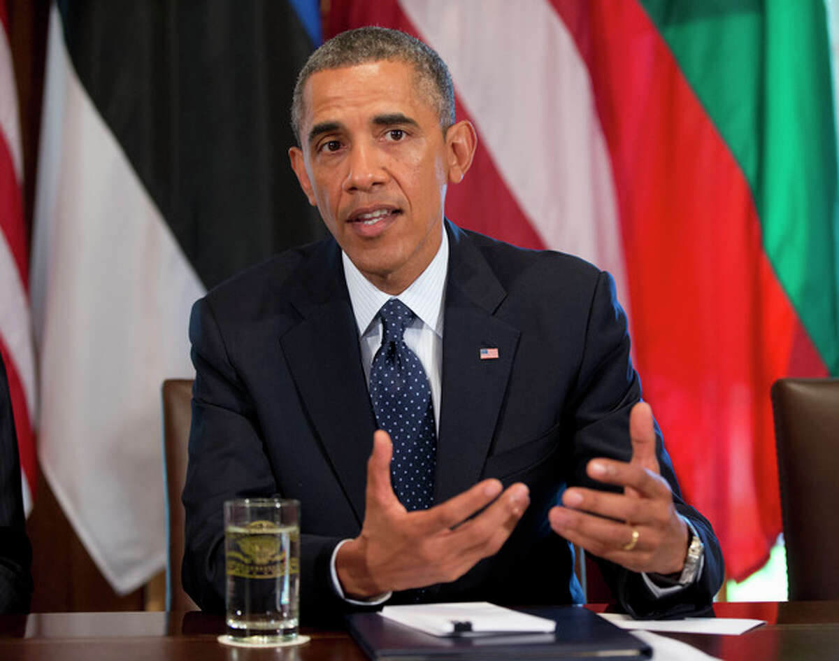 AP Photo/Pablo Martinez Monsivais President Barack Obama speaks to members of the media during his meeting with Baltic leaders in the Cabinet Room of the White House in Washington, Friday, Aug. 30.
