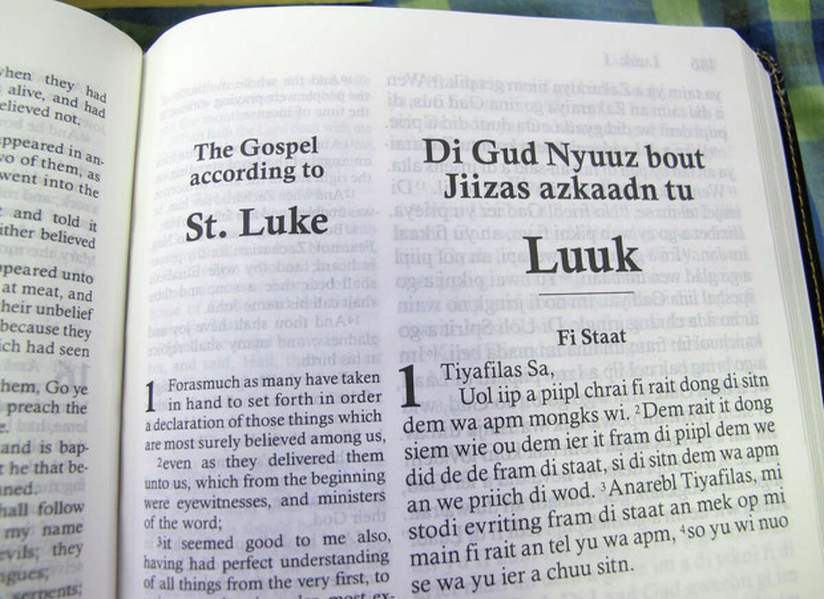 In this Dec. 3, 2012 photo, the first page of the Gospel according to St. Luke, or the