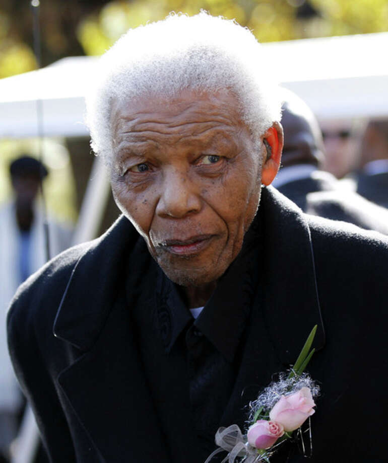 "FILE -In this June 17, 2010 file photo, former South African President, Nelson Mandela leaves the chapel after attending the funeral of his great-granddaughter Zenani Mandela in Johannesburg, South Africa. South African President Jacob Zuma says that former President Nelson Mandela has been admitted to hospital in Pretoria to undergo tests. Zuma issued a statement Saturday, Dec. 8, 2012 saying that Mandela is ""doing well and there is no cause for alarm."" (AP Photo/Siphiwe Sibeko, Pool, File) / Pool Reuters"