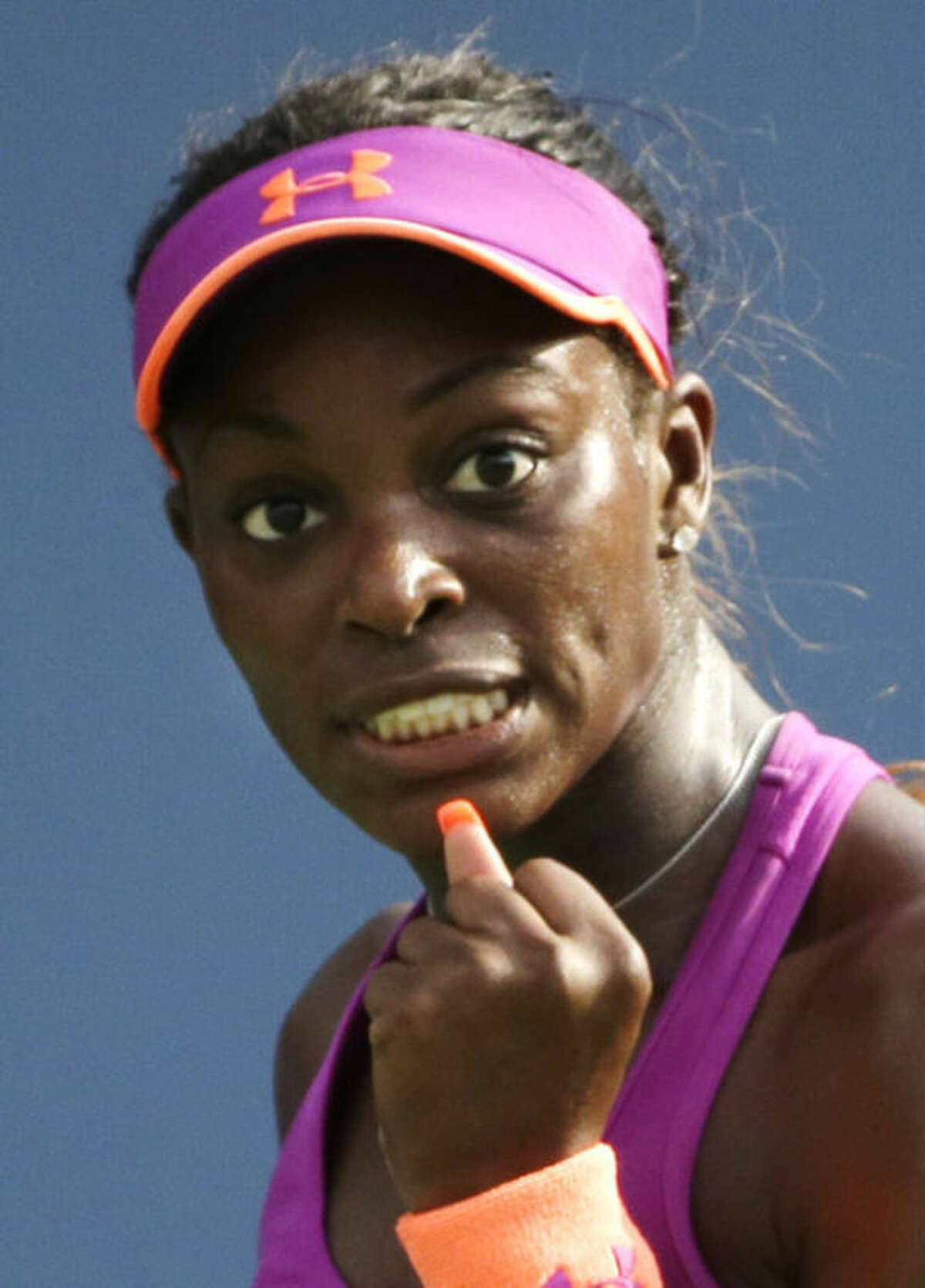 Sloane Stephens reacts after a shot against Jamie Hampton during the third round of the 2013 U.S. Open tennis tournament, Friday, Aug. 30, 2013, in New York. (AP Photo/David Goldman)