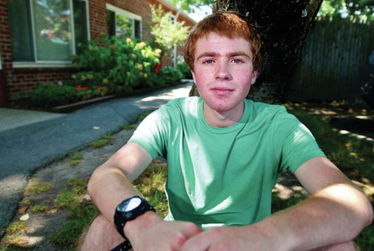 Hour photo / Erik Trautmann Brian Saunders, a Westport teen, pretended to be homeless for a week to see what it felt like and spent a lot of time at the Gillespie Center.
