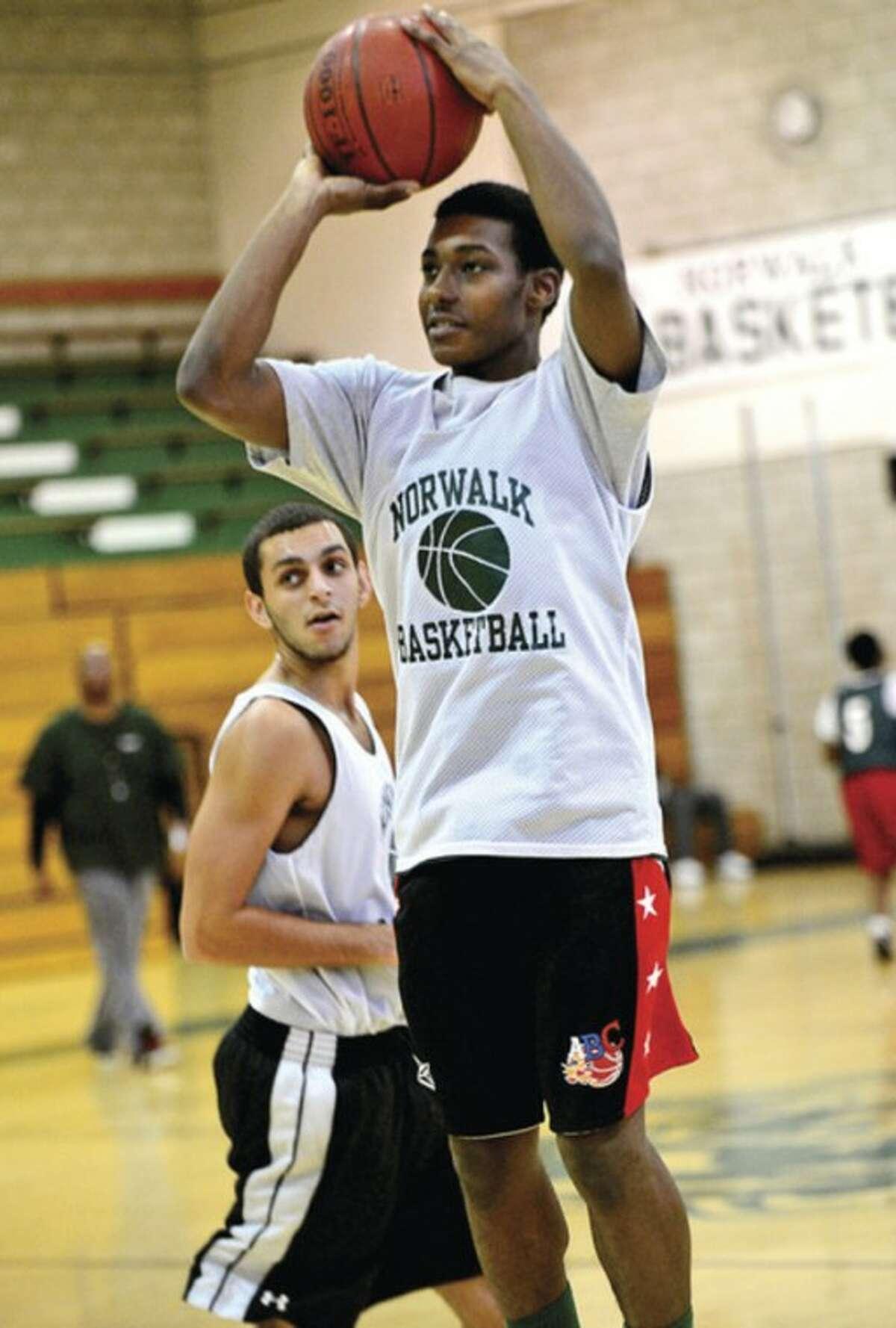 Norwalk High School hoops player Jabari Dear will help lead the team this year. Hour photo / Erik Trautmann